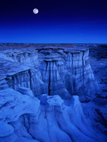 Full Moon Rises Over Landscape in De-Na-Zin Wilderness, Bisti Badlands, New Mexico, USA Photographic Print by Karl Lehmann at Art.com