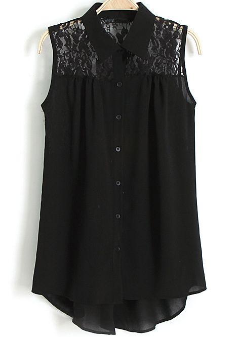 Blusa solapa encaje sin manga-negro