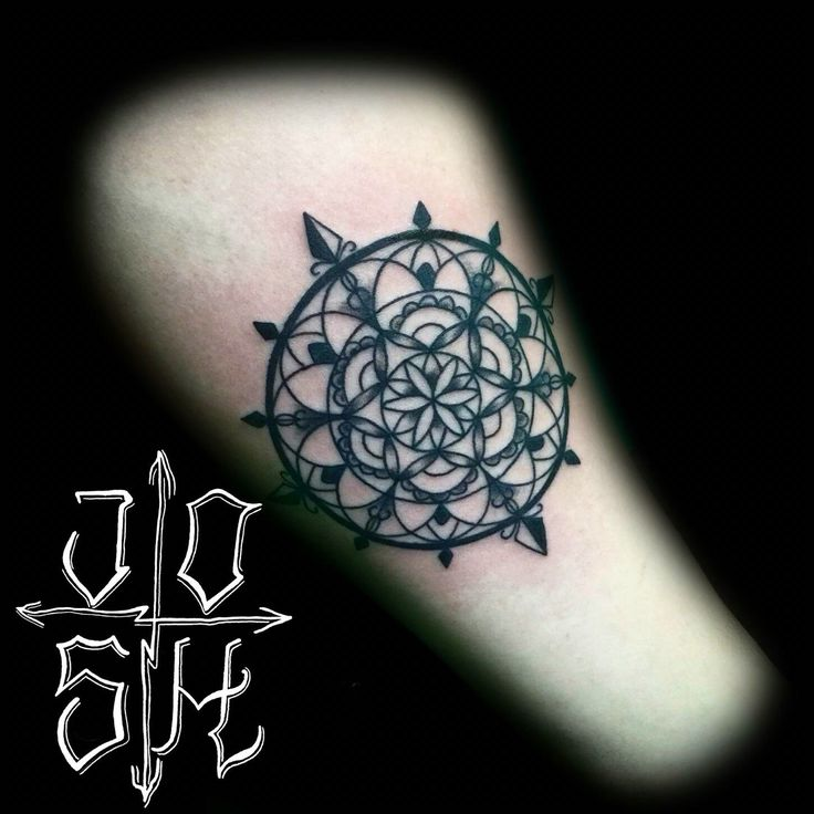 Awesome cool geometric mandala tattoos tattoo tattooing by Joshua Nordstrom at Deft Tattoo Studio in Kingsford, iron Mountain Michigan    Forearm, black work, line work, clean, u.p., tattooed, cute, sweet