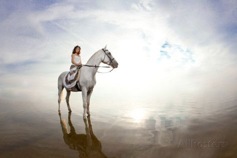 Beautiful Woman on a Horse. Horseback Rider, Woman Riding Horse on Beach Posters by Miramiska at AllPosters.com