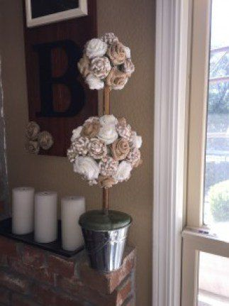 I love the neutral tones of burlap and pretty much any home decor that uses burlap rosettes.  Here, I show how to make a topiary using burlap rosettes an a foam…
