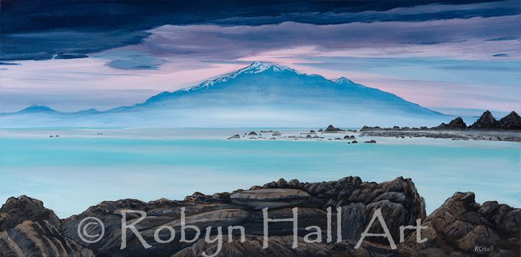 Kaikouras from Red Rocks Acrylic Painting original - by Robyn Hall New Zealand Artist
