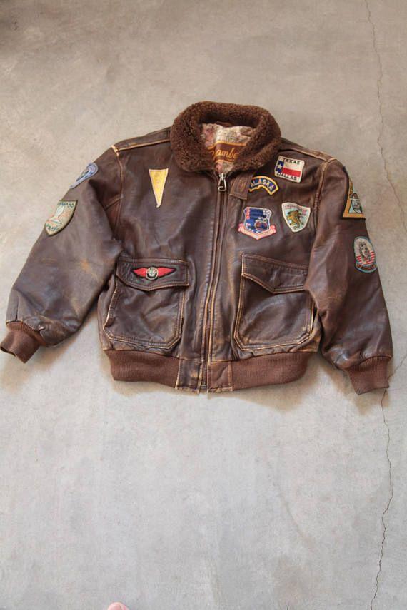 Vintage CHAMBERS Phoenix Arizona Brown Bomber leather Jacket.