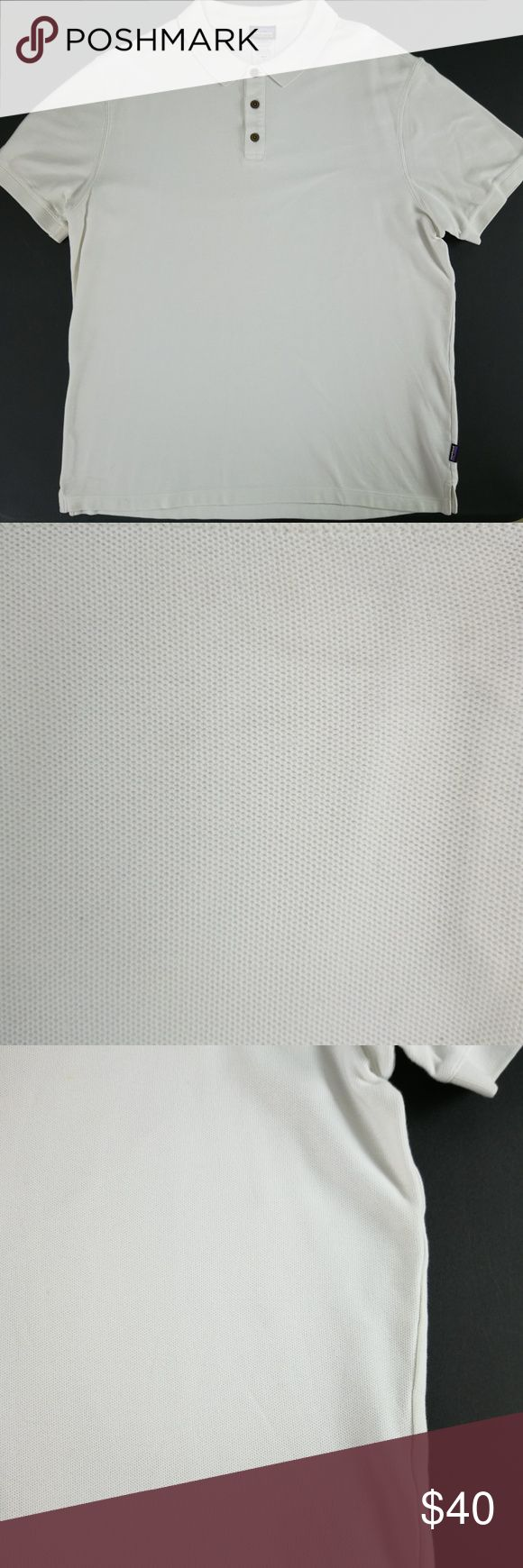 Men's XL White Organic Cotton Polo Shirt Patagonia For sale is a shirt from Patagonia with 100% organic cotton. The shirt is in great condition with no holes or tears. The color is white so there are some darker spots on it that should come out with bleaching (picture 2,3). The spare button is still attached.   Size: XL Please see pictures for measurements.   I will ship your item within 24 hours  Thank you Patagonia Shirts Polos