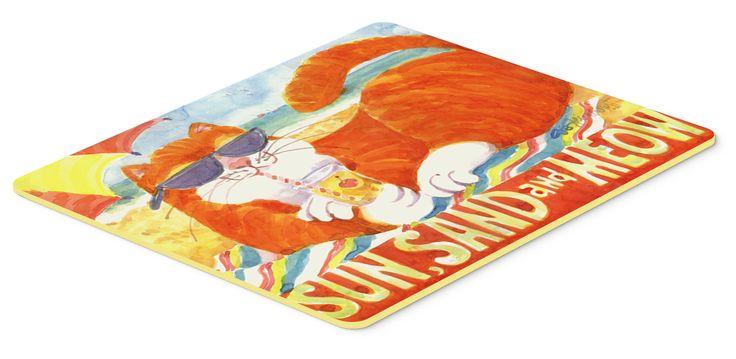 Orange Tabby at the beach Kitchen or Bath Mat 24x36