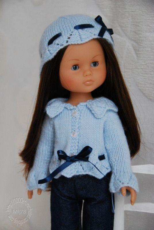 """Fiche tricot : Gilet et bonnet """"Anytime"""" pour poupées 32/33 cm - patron tricot - Le Dressing des Poupées - Fait Maison 5.00€"""