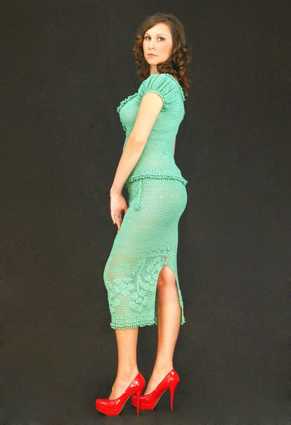 Mint exclusive crochet two-piece suit top&skirt by LecrochetArt