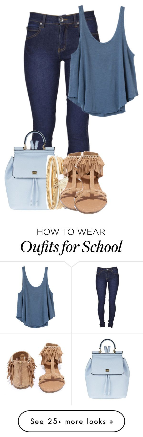 """""""Back To School - 16"""" by brechris on Polyvore featuring Dr. Denim, RVCA, Dolce&Gabbana, River Island and Qupid"""