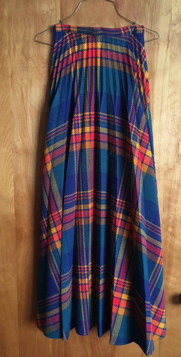 Vintage Plaid MaxiSkirt RTjrs Label Size 9 Retro Fashion 1970s Gorgeous Multi Plaid Sunburst Pleated Teals Blues Golds Reds That 70s Show by ArtBarn on Etsy