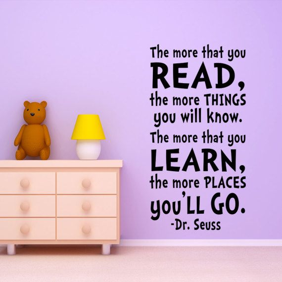 Kids Wall Art Dr. Seuss Quote Wall Decal. $34.99, via Etsy.