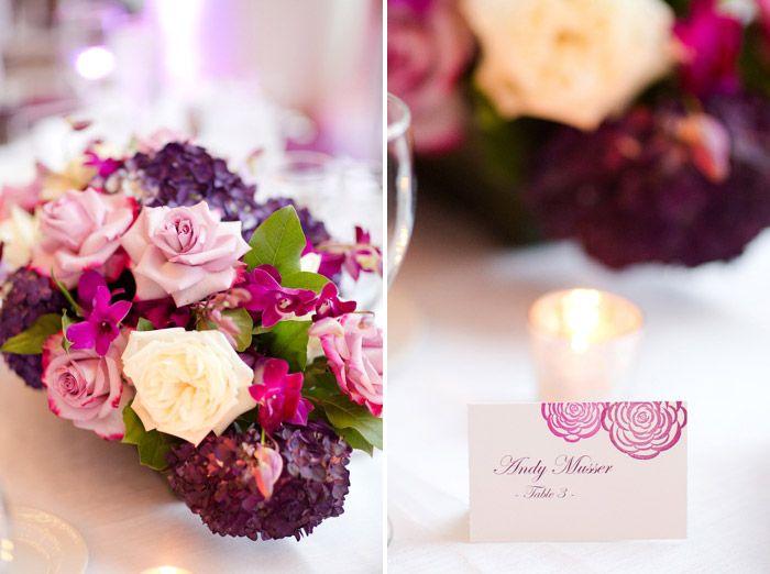 Elegant Purple Plum Wedding Centerpieces Place Cards Escort Cards