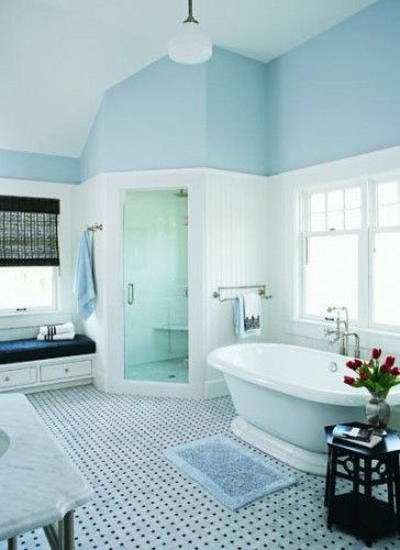 A corner shower can be a great way to maximize shower space without crowding the other elements in the bathroom.