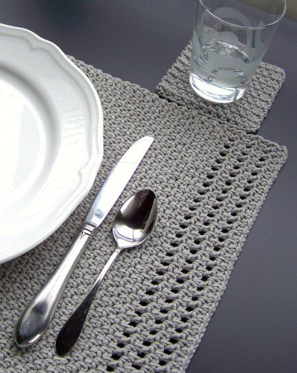 Simply Elegant Placemat and Coasters by Melanie Rice - LoveCrochet