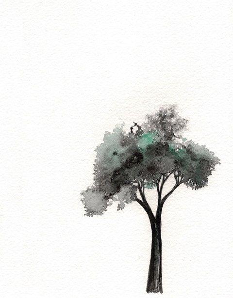 Minimal Tree /  Watercolor Print on Etsy, $20.00