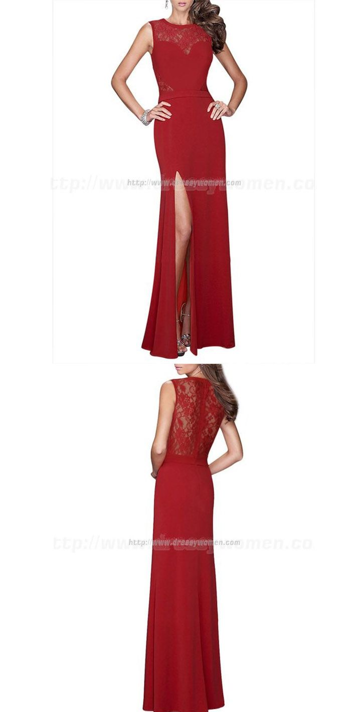 Sexy Lace and Chiffon Formal Red Evening Dress with Front-slit,Sexy Lace and Chiffon Formal Red Evening Dress with Front-slit, backless prom dress , long chiffon open back evening dress , ball gown , formal dress , pageant wedding party homecoming dress,purple bridesmaid dresses,beaded prom dress,beading evening gowns,long prom dresses