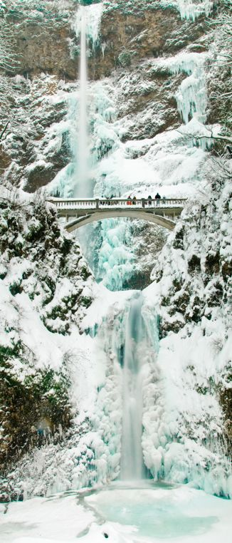 Ice and snow at Multnomah Falls in the Columbia River Gorge near Portland, Oregon • photo: Marshall Alsup on Flickr