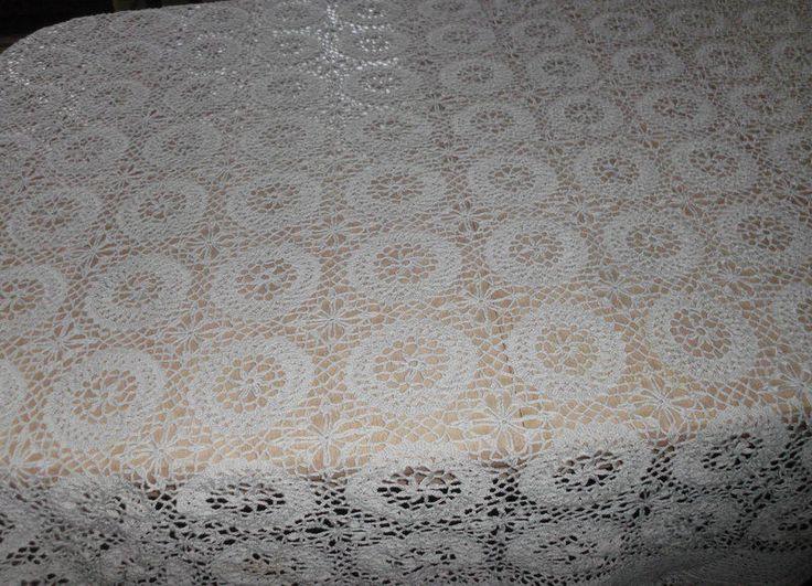 Große Tischdecke Häkeldecke Handarbeit oval ca. 210x155 • EUR 45,00 - PicClick DE