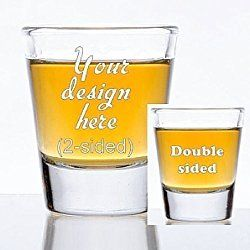 1.5 oz Custom Shot Glass - Glass Etched Personalized Shot Glass - Double Sided
