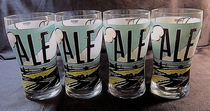 4 KROSNO CRYSTAL NONIC ALE GLASSES - Pastoral Scene, ALE in Block Letters -16 oz #Krosno $43.99