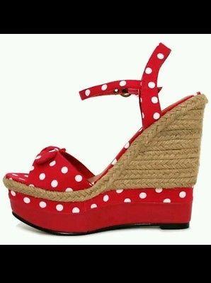 polka dot wedge shoes rockabilly 50 s rock n roll