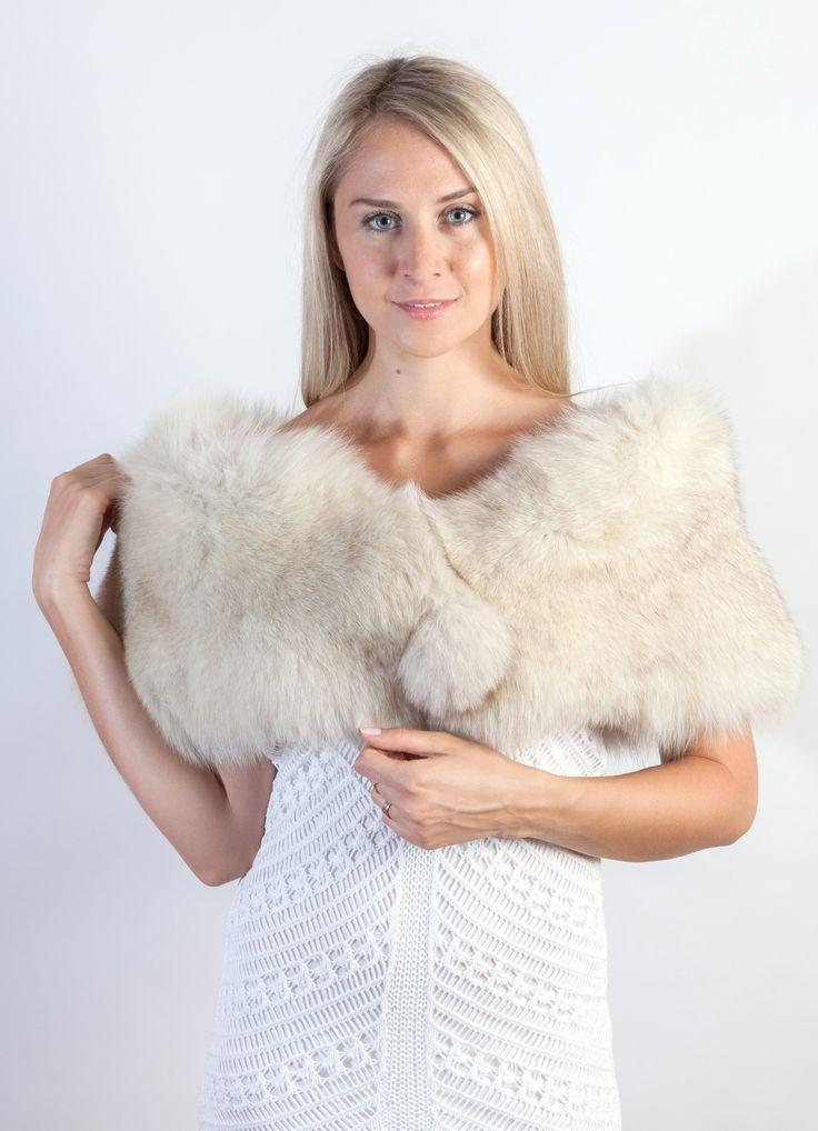 Authentic Greenland fox fur stole: The perfect winter warmer for any wedding!  www.weddingfur.com