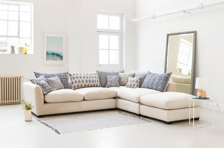Hambledon Corner Unit With Indigo Wills Hand Printed Scatter Cushions Comfy Corner Sofa Corner Sofa Sofa Inspiration