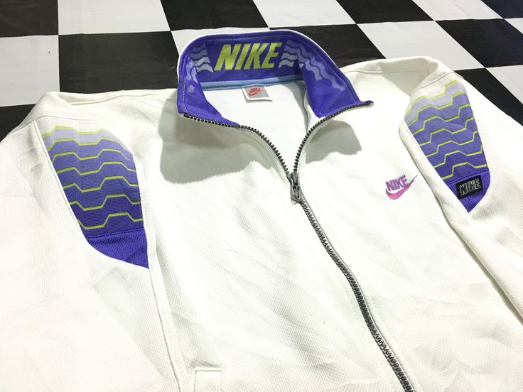 Vintage Nike jacket track warm up jacket embroidered swoosh logo spell out on collar Size M Excellent condition Nike gray tag by AlivevintageShop on Etsy