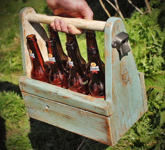 Rustic Beer Tote Carrier Vintage Reclaimed Wooden Beer