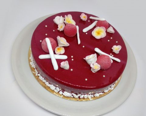 Sweet elegance cake. Red mirror glaze. Chocolate mousse and tropic fruit inside. Find receipes on my blog
