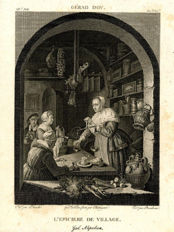 Navolger: de dorpskruidenier. Gravure. 1804-1815. British Museum, London. Naar Gerard Dou: kruidenierswinkel, 1647.