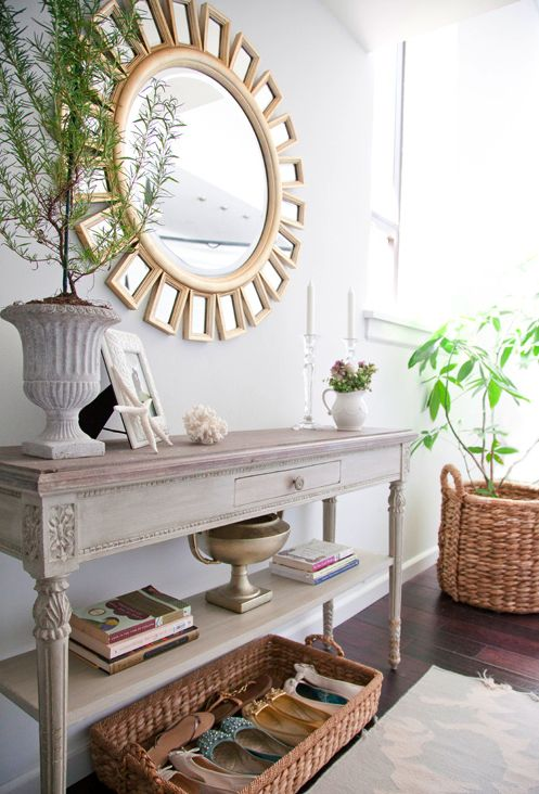 I love that mirror:) Such a simple, clean look for this console table too; quite nice.: Mirror, Decor Ideas, Entry Tables, Consoles Tables, Front Doors, Shoes Storage, Homes, Entryway, Shoes Baskets