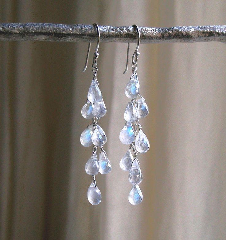 Dripping With Moonstones Earrings - Moonstone Drop Earrings - Waterfall Earrings…