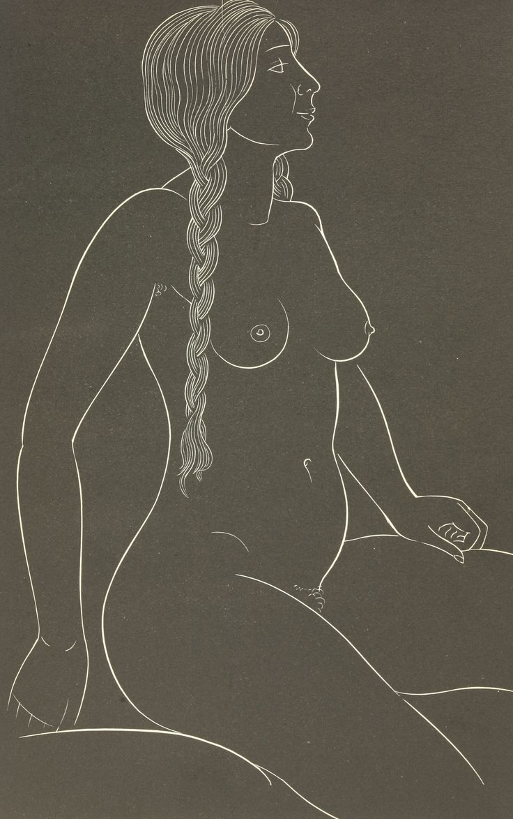 Eric Gill (1882-1940) FROM '25 NUDES' BY ERIC GILL, published by Dent & Sons, 1938 BETTY, THE ARTIST'S ELDEST DAUGHTER Wood engraving sold for £200 on 12th April 2016