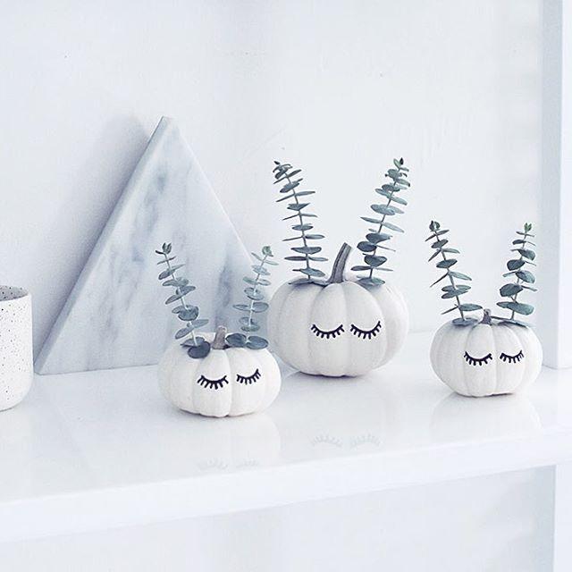 Søde og moderne græskarhoveder med eucalyptus grene  Kredit @homeyohmy  #homeyohmy#græskar#halloween#diy#efterår#krea#eucalyptus#boligindretning#boligliv#gds#boligpluss#kreativ#kreatid