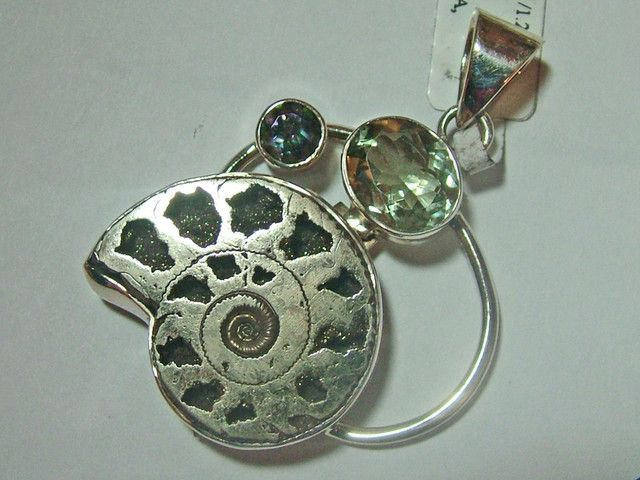 fossil jewelry /silver pendant 95 cts tbg-48