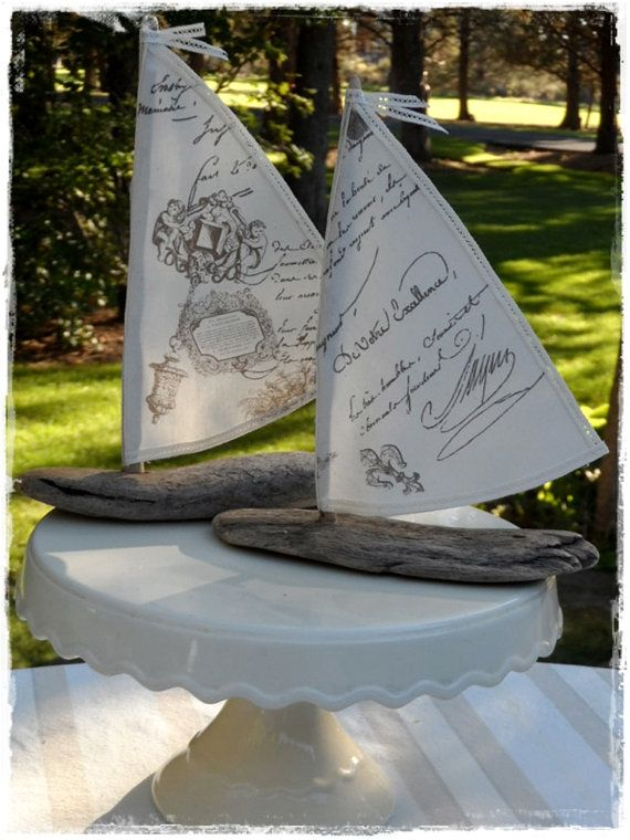 Pair of Driftwood Shabby Beach Cottage Decor Sailboats French Script Printed Sails Coastal Seaside Beach Themed Wedding Favors Cake Toppers on Etsy, $22.00