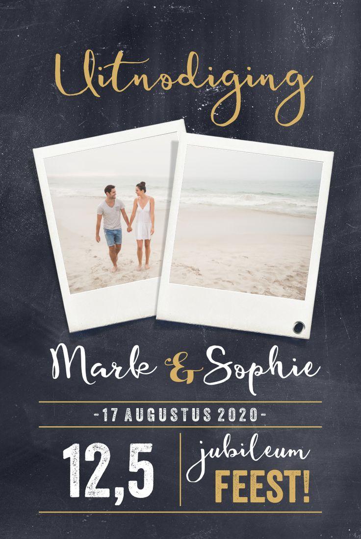 Stoere uitnodiging voor jubileum, 12,5 jaar getrouwd. Plaats je eigen foto's in de polaroid op het krijtbord.