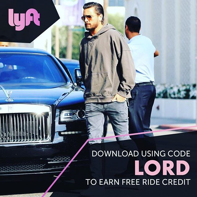 Scott Disick @letthelordbewithyou: Going somewhere? Let @Lyft do the drivingdownload the app and use code LORD f