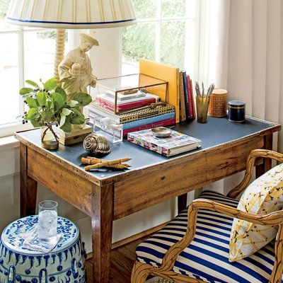 Small Space Organizing Tips: Wooden Desk with Blue Striped Chair