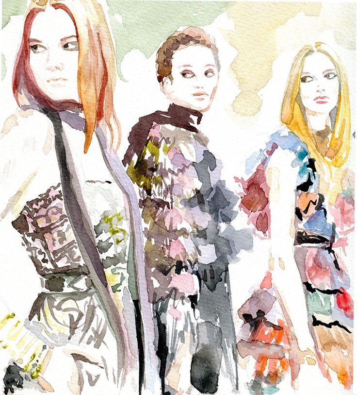 Backstage Vibes at Elie Saab Ready-to-Wear Fall-Winter 2016. Illustration by Irina Sibileva #eliesaab #fashionillustrator #IrinaSibileva #IrinaSibilevaDraws