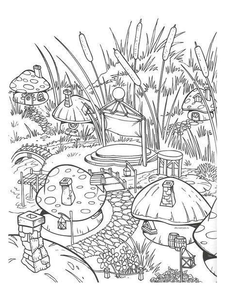 Mushroom Town Colouring Coloring Pages Coloring Pages Adult