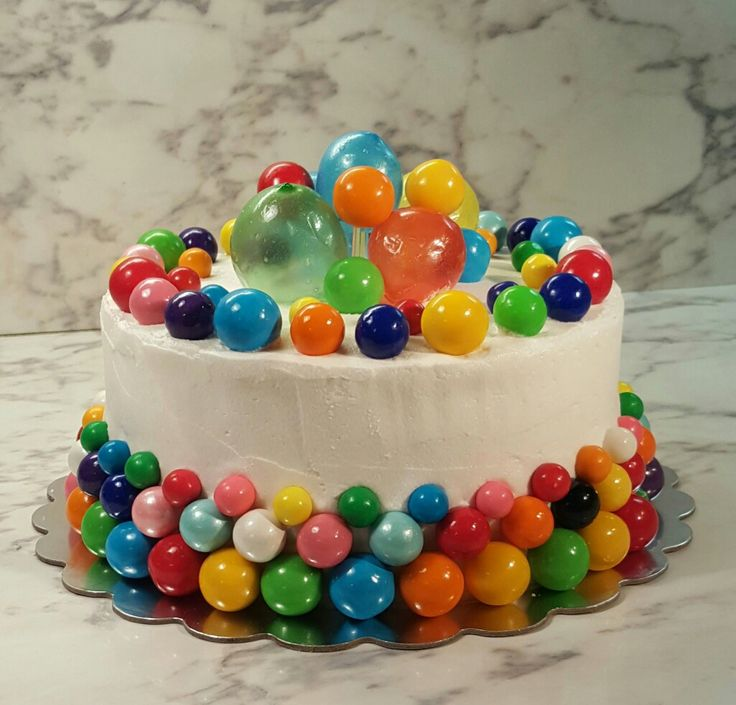 "What a Fun Cake- For all ages! "" Party Birthday Cake. ""Bubble "" Bubblegum Gum Ball Cake."