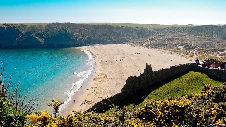 Barafundle Bay, Pembrokeshire, has been voted as one of the UK's best beaches and used by the Welsh Tourist Board to promote Wales - with its golden sands and crystal-clear water.