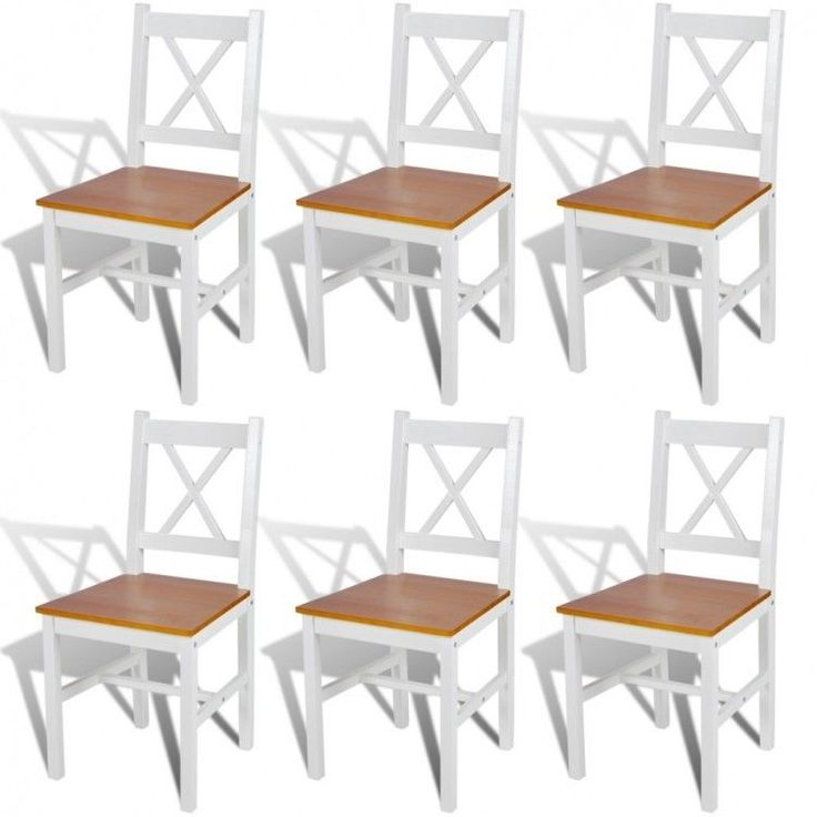 Wooden Dining Chairs Set of 6 Natural Solid Pine Wood Frame Kitchen Furniture