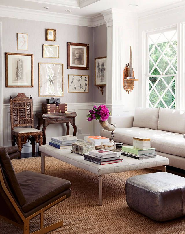 I Like The Mix Of Modern (coffee Table, Couch, Ottoman And Chair) With The  India Chair And Wall Shelf, For A Lovely Eclectic Look.
