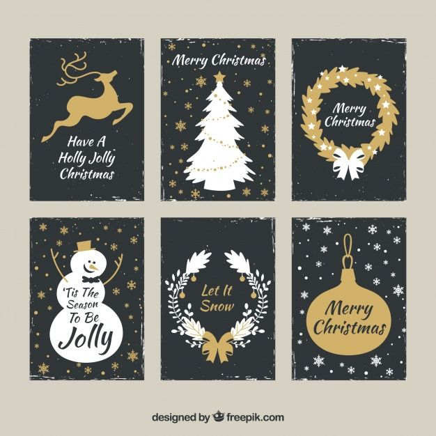 Download Golden Set Of Christmas Cards For Free Christmas Card Template Merry Christmas Card Greetings Merry Christmas Card
