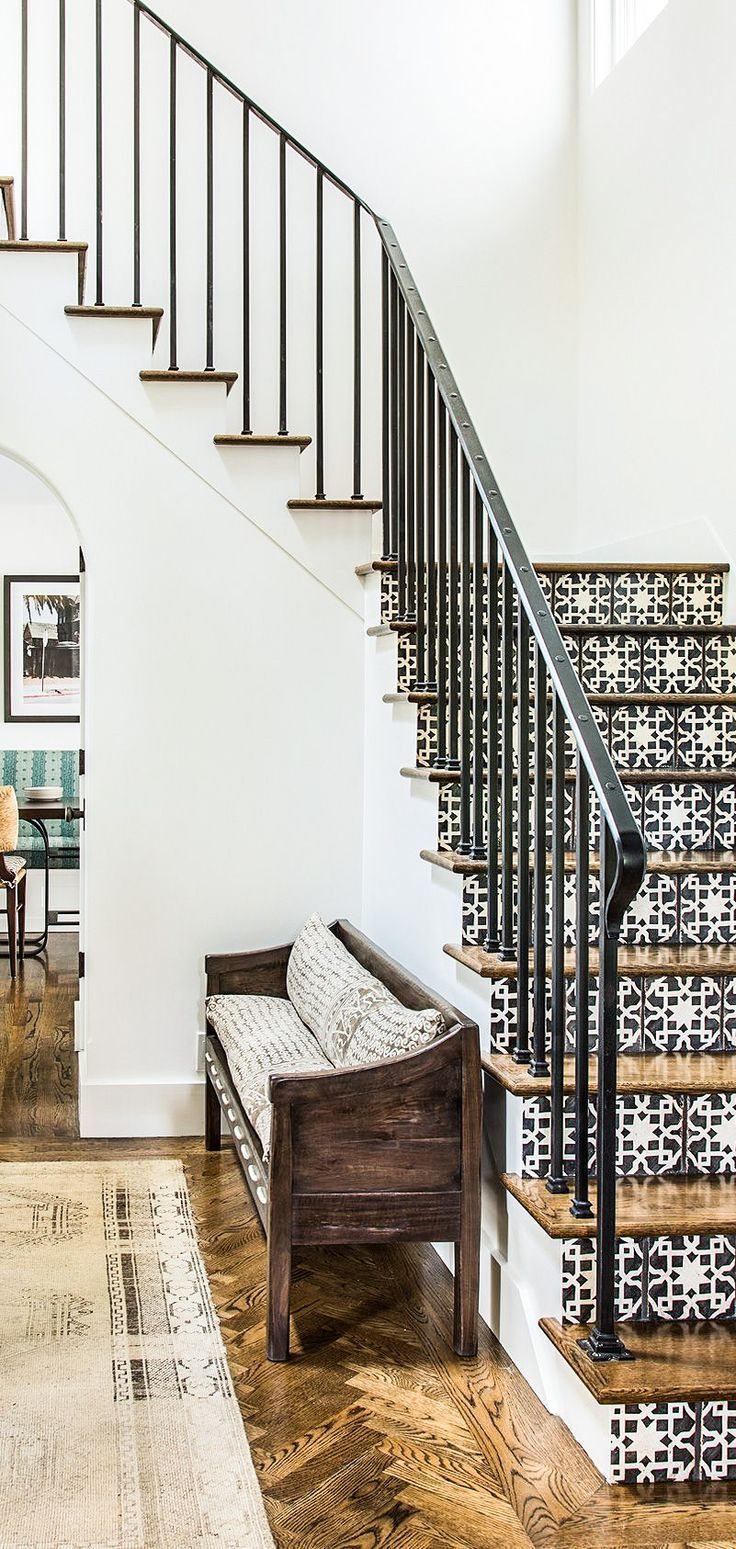 The stair tiles are beautiful with the