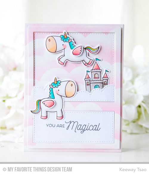 Magical Unicorns Stamp Set and Die-namics, Stitched Cloud Edges Die-namics, Essential Cover-Up Vertical Die-namics - Keeway Tsao  #mftstamps