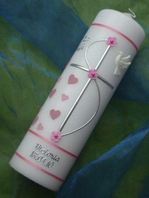Taufkerze - Mädchen - Herzchen Kreuz - 25cm