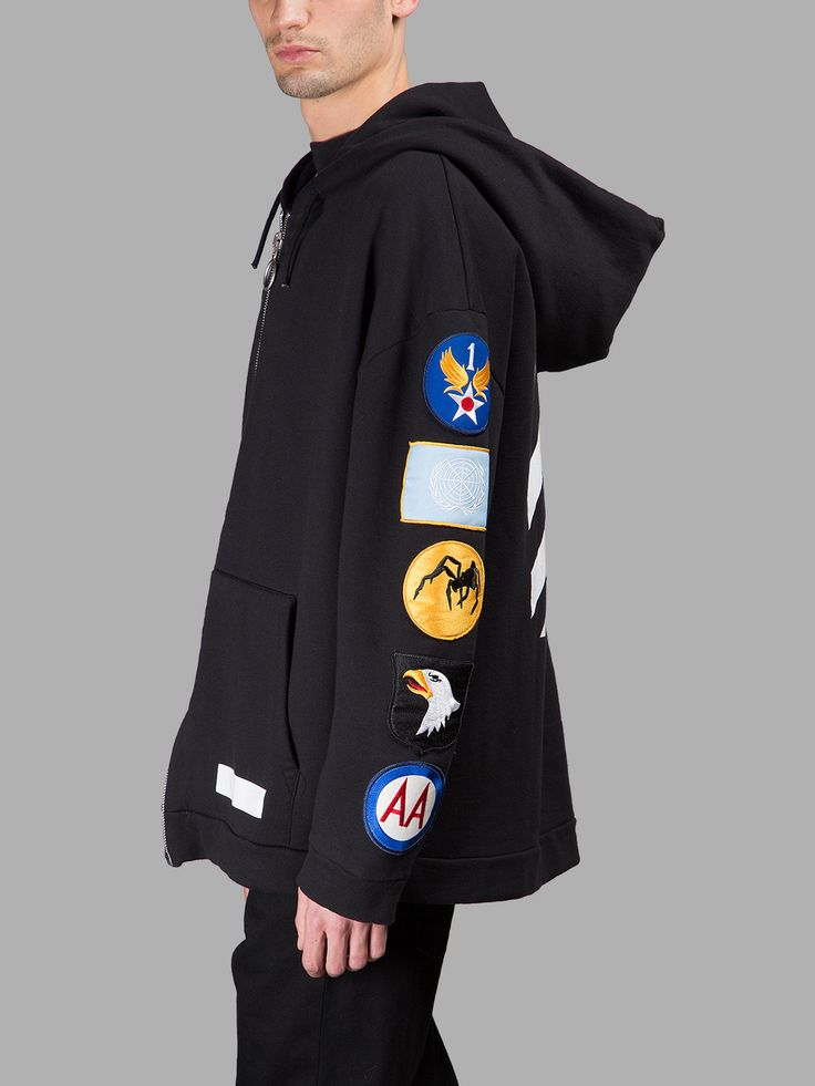 OFF-WHITE C/O VIRGIL ABLOH MEN'S BLACK HOODIE WITH PATCHES